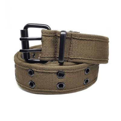 Khaki Rivet Studded Canvas Belt