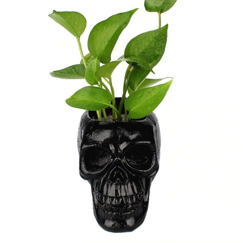 Black Skull Flower Pot