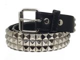 Silver Metal Pyramid Studded Unisex Leather Belt