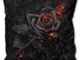 Burnt Rose Square Black Cushion