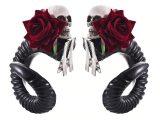 Devil Clip-In Skull & Rose Ram Horns