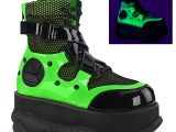 Neptune-126 Black & Rective Green Unisex Vegan Leather Cyber Boots